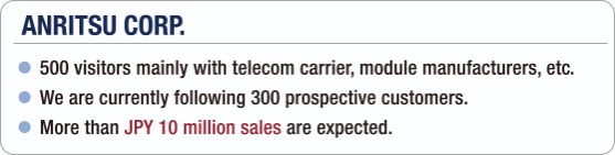 [ANRITSU CORP.] - 500 visitors mainly with telecom carrier, module manufacturers, etc. / - We are currently following 300 prospective customers. / - More than JPY 10 million sales are expected.