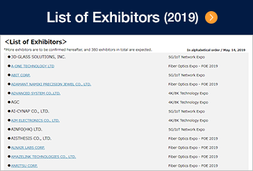 List of Exhibitors (2019)